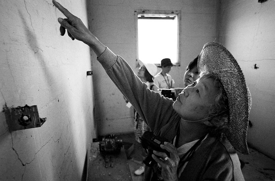 Discovering inmates writing in prison building