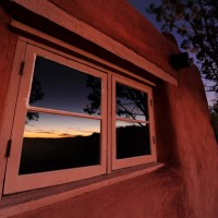 Sunset in Painted Desert Inn window