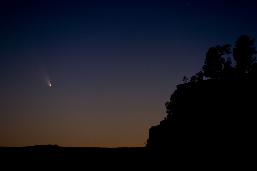 Comet PanSTARRS, night sky photography, astrophoto, El Mapais lava beds, New Mexico