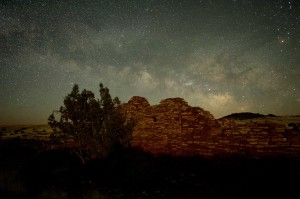 The Milky Way rising over Lomaki pueblo.