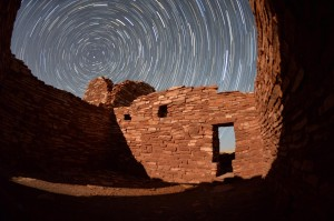 Wasn't sure how this would look but it came out ok. Star trails from inside a room at Lomaki ruins.