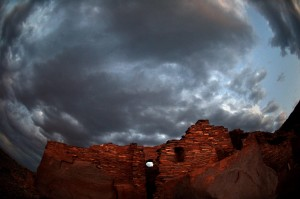 Ominous clouds over Wupatki pueblo. (click to enlarge)