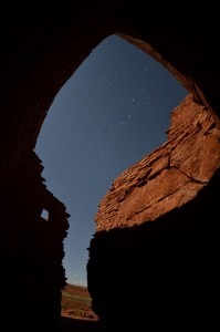 View from a room in the Wupatki pueblo, the Big Dipper points to the right. (click to enlarge)