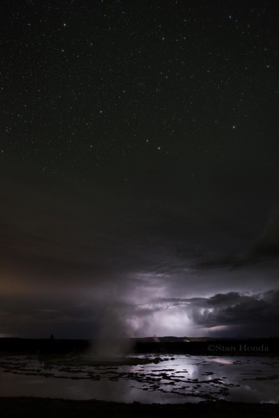 Storm, stars, Great Fountain Geyser