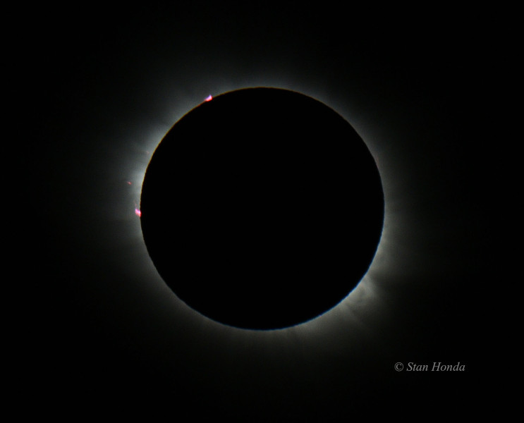 Red solar prominences during totality, including a small one being flung off into space