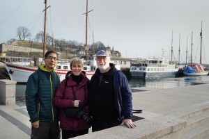 Me, Eileen Renda and Tony Hoffman at the Oslo waterfront
