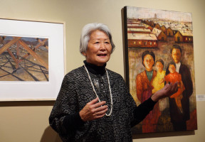 "Hatsuko Mary Higuchi talks about ""Manzanar Guard Tower"" and ""Unfinished Business: Hardship and Suffering""."