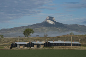 Early morning sun on the Heart Mountain Interpretive Center.