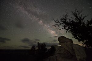 The Milky Way arching across the southern sky.