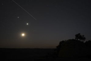 Friday night's ISS flyover past the Jupiter-Venus-Moon grouping.