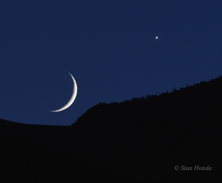 Moon and Venus setting, Rocky Mountain National Park.