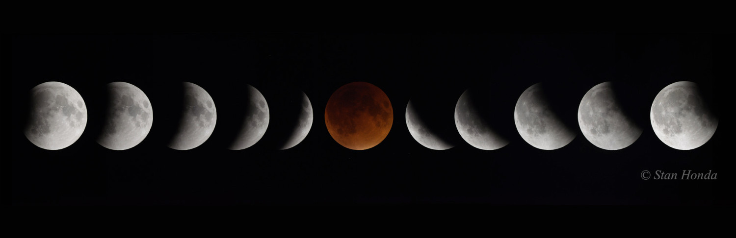 Sept. 27 total lunar eclipse. Partial phases photographed 10 minutes apart as the moon moved in and out of Earth's shadow.
