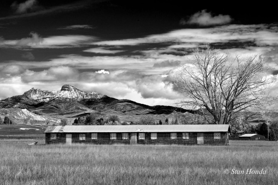 An intact barrack in nearly original condition north of Cody, in the background is Heart Mountain with mid-May snow on the peak.