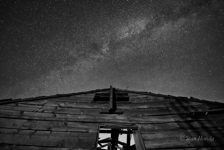 Stars above a dilapidated barrack on Tak Ogawa's farm.