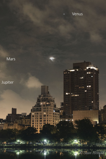 Oct. 9, 2015: The planets barely peeking out through clouds join a nice crescent moon.