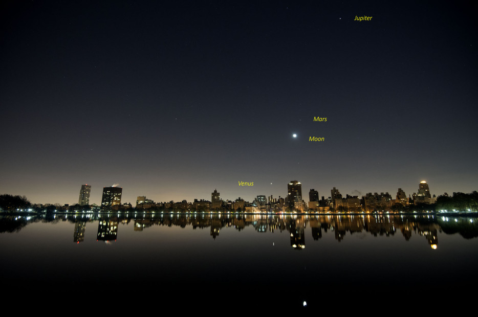 Dec. 6, 2015: Three planets and the moon at 4:10 am.