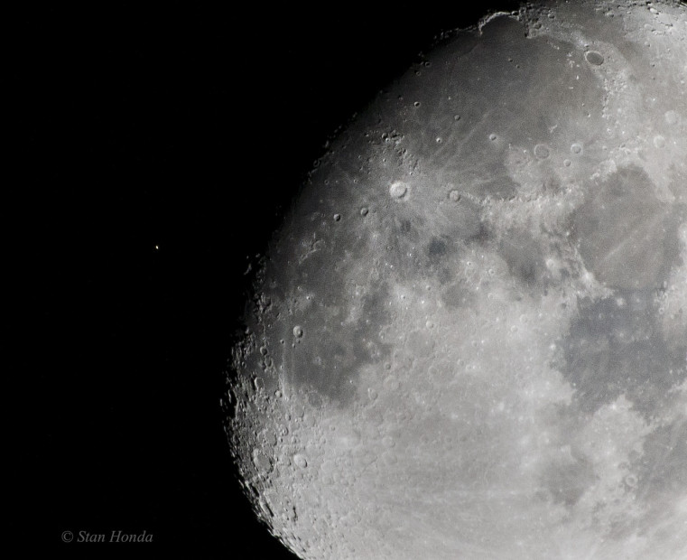 Jan. 19, 2016: The leading unlit edge of the moon approaches the giant orange star Aldebaran just before the occulation.