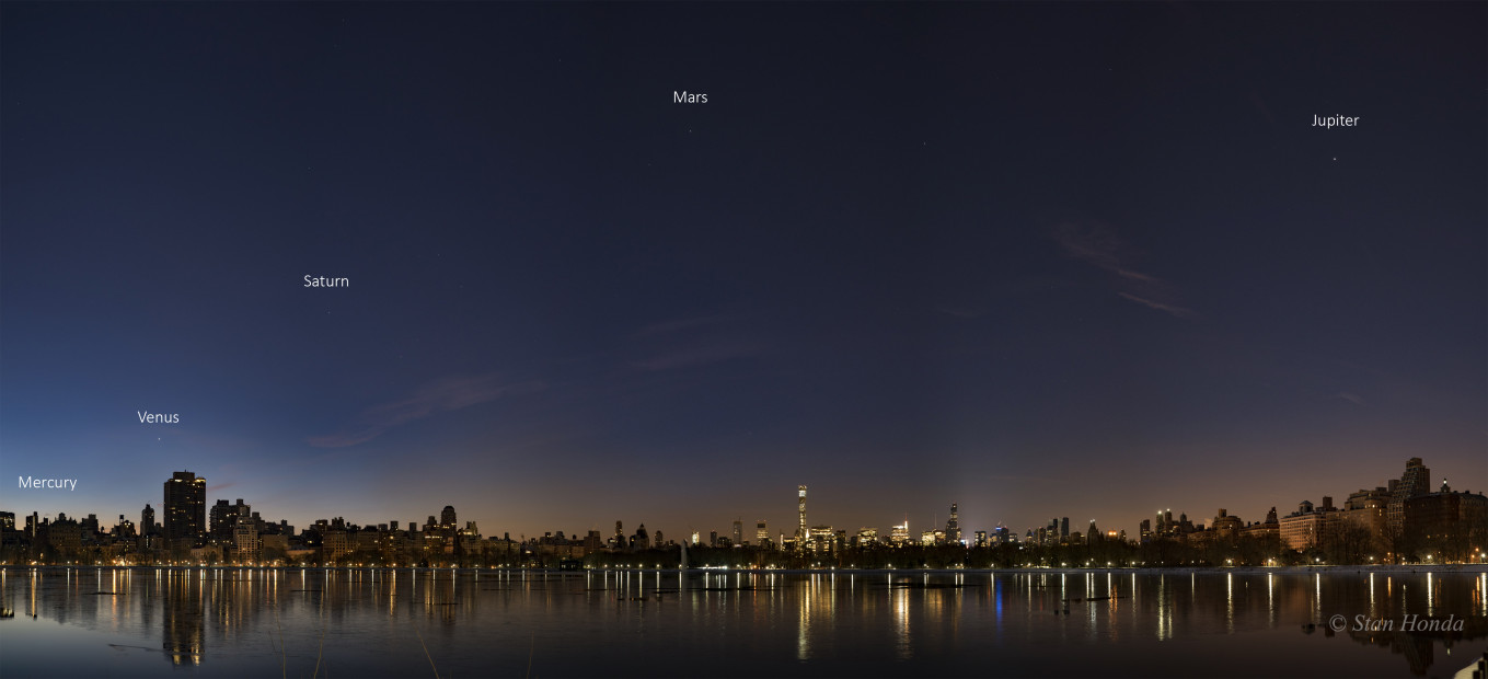Jan. 25, 2016: First attempt at getting all five planets at the Central Park reservoir. Five image panorama.
