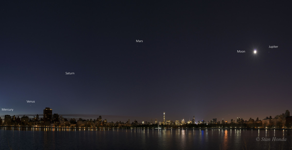 Jan. 28, 2016: The five planets with a gibbous moon near Jupiter. Four image panorama.