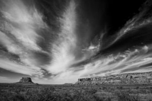Dramatic clouds over Fajada Butte.