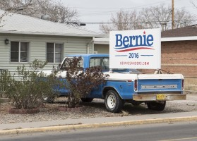 Bernie sign on Ford Ranger pickup truck in Farmington