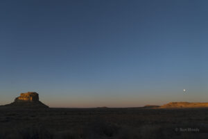 Moonset and Fajada Butte on Thursday morning