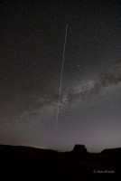 The International Space Station passes over Fajada and the Milky Way in this 3 minute exposure.