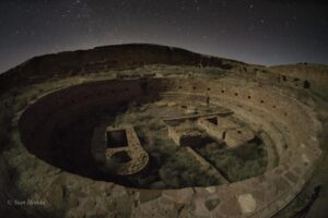The big kiva in moonlight at Chetro Ketl.