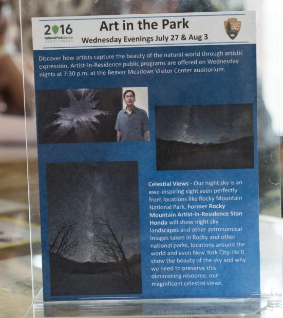They made a nice flyer on display in the Beaver Meadows visitor center where I'll be giving talks each Wednesday as part of the scheduled Art in the Park series.