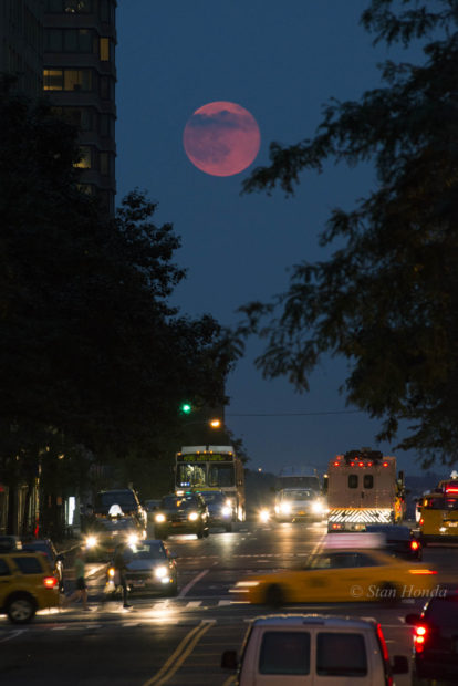 "The June ""Strawberry moon"", full moon rises on summer solstice, June 20, 2016."