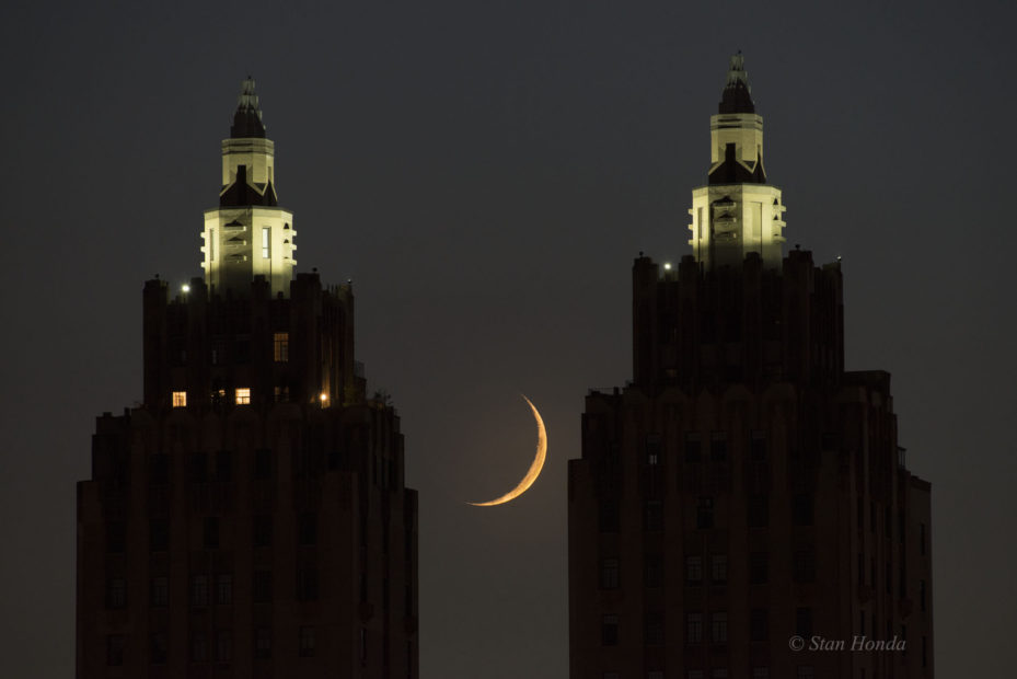Crescent moon setting, west side of Manhattan, July 6, 2016.