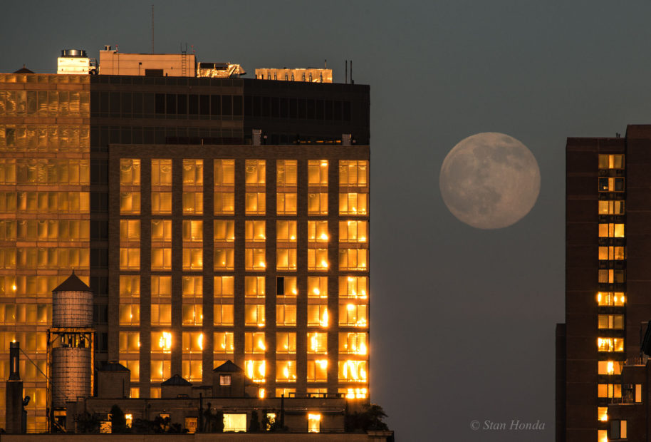 A nearly full moon rises between apartments on the east side of Manhattan, June 19, 2016.
