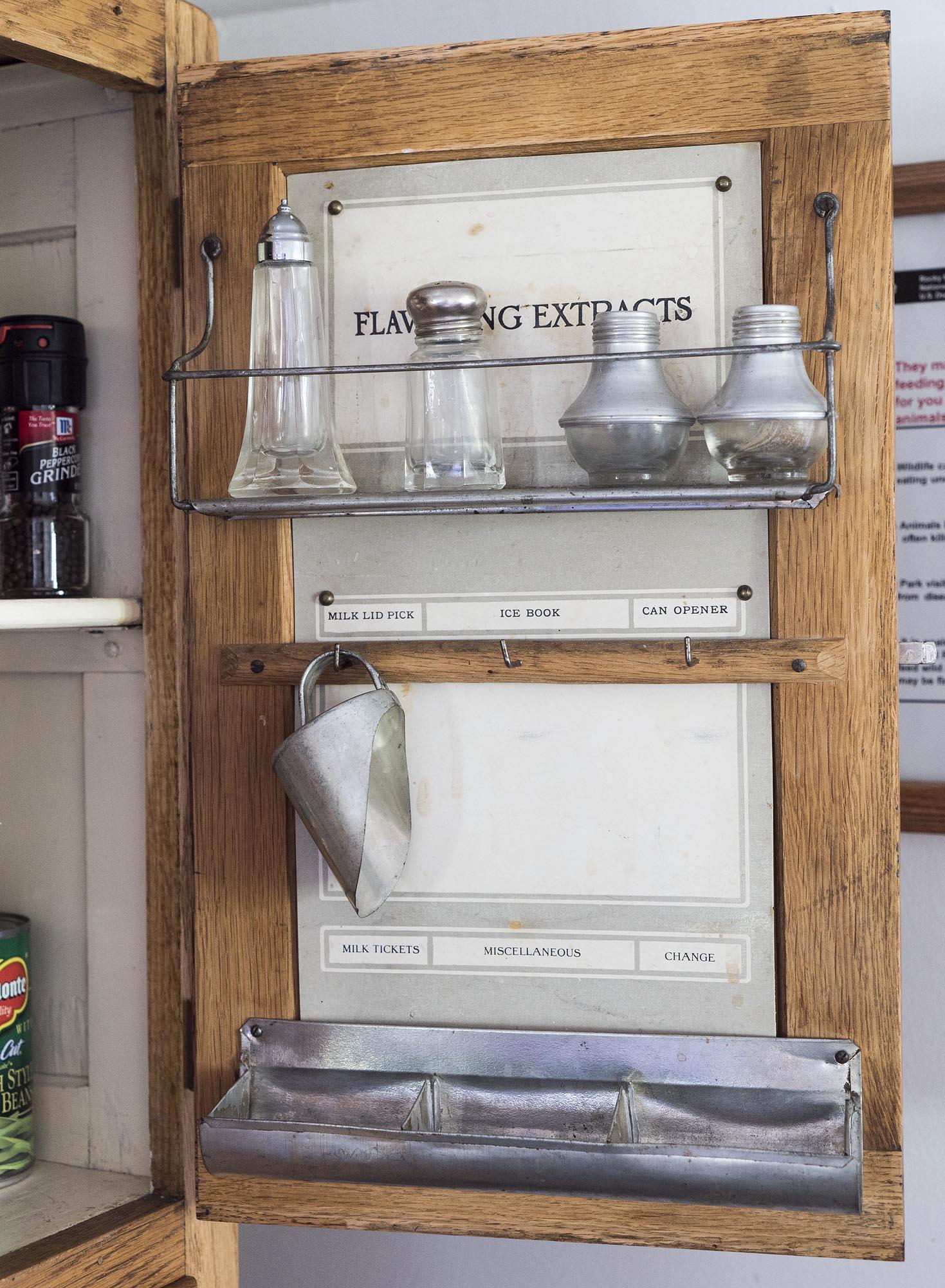 the hoosier kitchen cabinet door for flavoring extracts etc