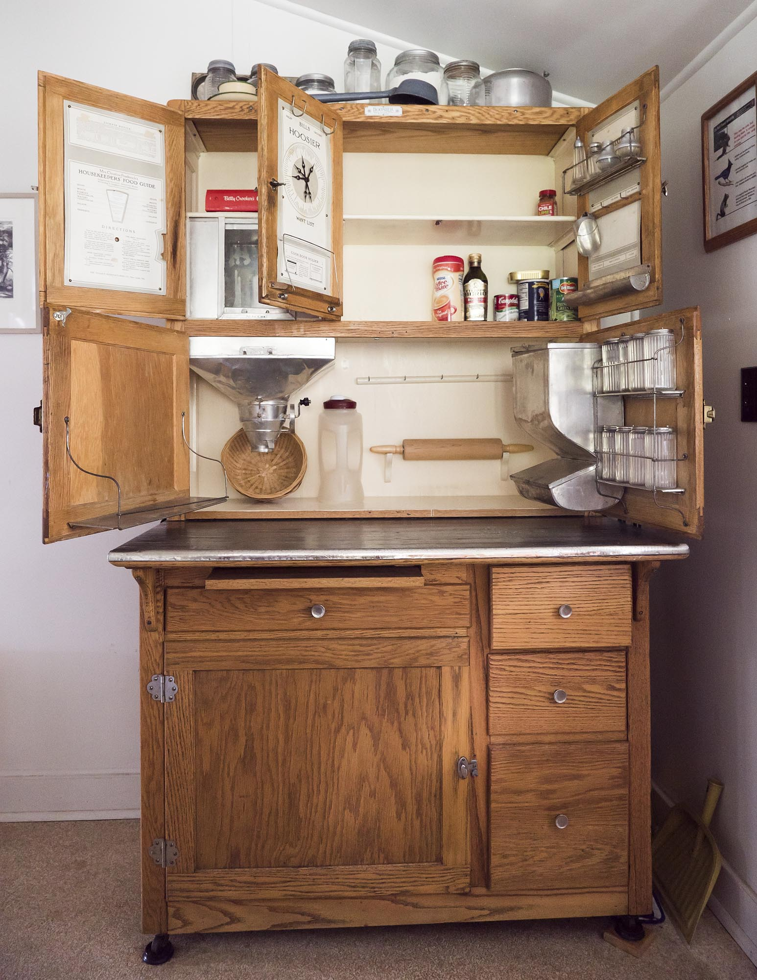The Hoosier Kitchen Cabinet With Door Open